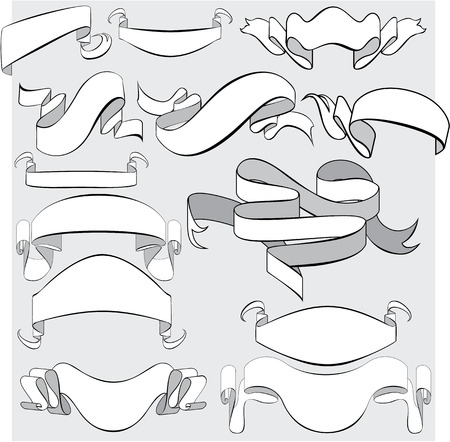 heraldry: Medieval abstract ribbons, crolls, banners - set for heraldry design elements.