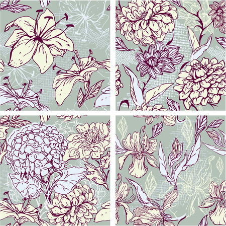 Set of 4 Floral Seamless Patterns with hand drawn flowers - tiger lilly, orchid, gardenia and peony.  Vector