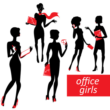 sexy business woman: Set of fashionable business girls silhouettes on a white   Illustration