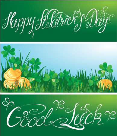 horizontal banner: Set of 3 horizontal banners with calligraphic words Happy St. Patrick`s Day and Good Luck.  Shamrock and golden coin on blue sky  Illustration