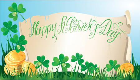 Holiday card with calligraphic words Happy St. Patrick`s Day. Old scroll, Shamrock and golden coin on blue sky, horizontal image Vector