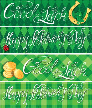 Set of 4 horizontal banners with calligraphic words Happy St. Patrick`s Day and Good Luck. Shamrock, horseshoe, ladybug and golden coins on green checkered  Vector