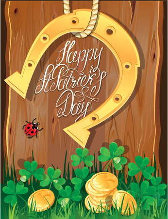 Holiday card with calligraphic words Happy St. Patrick`s Day. Shamrock, horseshoe, ladybug and golden coins on wooden  Vector