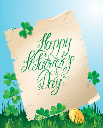 Holiday card with calligraphic words Happy St. Patrick`s Day. Old scroll, Shamrock and golden coin on blue sky  Vector