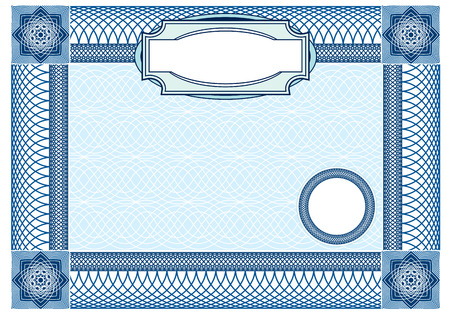 sertificate: Business, Guilloche ornamental Element for Certificate, Money, Diploma, Voucher, decorative horizontal frame Illustration