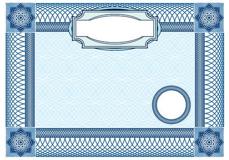 sertificate: Business, Guilloche ornamental Element for Certificate, Money, Diploma, Voucher, decorative horizontal frame Illustration