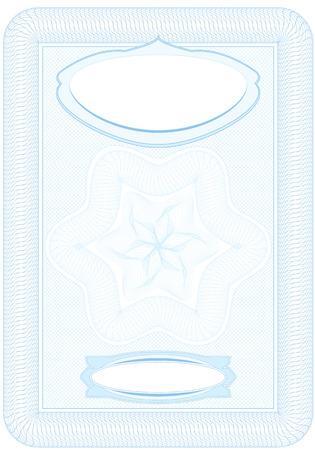 sertificate: Business, Guilloche ornamental Element for Certificate, Money, Diploma, Voucher, decorative vertical frame Illustration