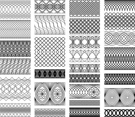 Set di Vintage, Guilloche ornamentale Elemento per Certificate, Denaro, Diploma, Buono, cornici decorative rotonde. Archivio Fotografico - 26176794