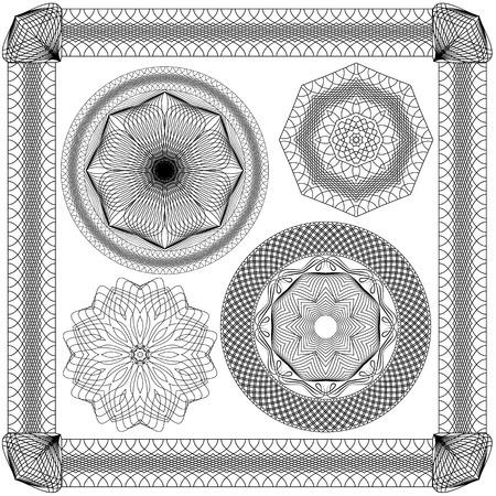 Set of Vintage, Guilloche ornamental Element for Certificate, Money, Diploma, Voucher, decorative round frames. Vector
