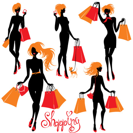 Set of Shopping woman silhouettes  isolated on white  Vector