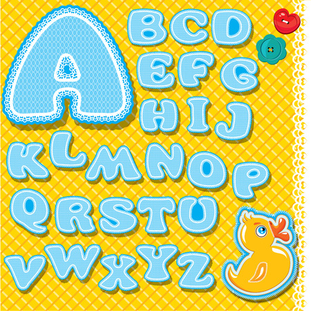 Chidish alphabet - letters are made of blue lace and ribbons on checkered yellow background - version for baby boy Vector