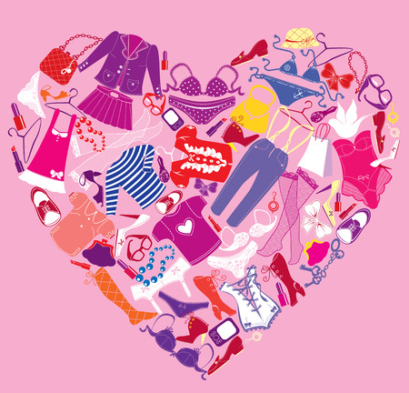 pink dress: I Love Shopping image, the heart is made of different female fashion accessories and glamor clothes Illustration