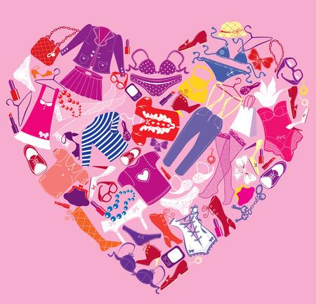 I love shopping immagine, il cuore è fatto di diversi accessori moda femminile e abiti glamour