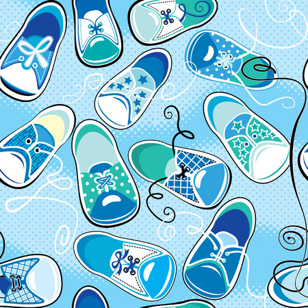 Seamless pattern - children gumshoes on blue background - design for boys Vector
