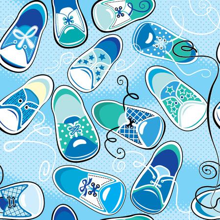 Seamless pattern - children gumshoes on blue background - design for boys Vector