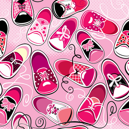 shoelace: Seamless pattern - children gumshoes on pink background - design for girls
