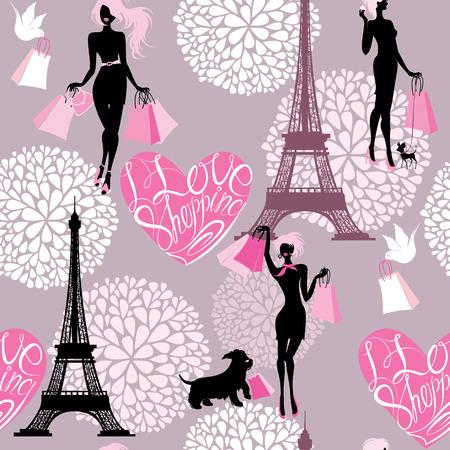 Nahtlose Muster - Effel Tower, Herzen mit kalligraphischen Text Ich liebe Einkaufen, Silhouetten Mädchen mit Einkaufstüten - Hintergrund für Mode-oder Retail-Design