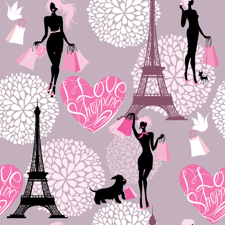 fashion bags: Seamless pattern - Effel Tower, hearts with calligraphic text I Love Shopping, girls silhouettes with shopping bags - Background for fashion or retail design Illustration