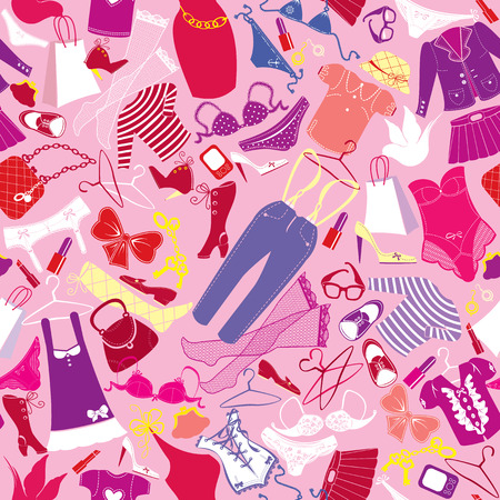 Seamless pattern for fashion Design - Silhouettes of glamor clothes and accessories - colorful images on  pink background. Illustration