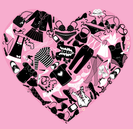 heels shoes: I Love Shopping image, the heart is made of different female fashion accessories and glamor clothes Illustration