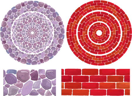 Round frames with Stone and brick Background Vector