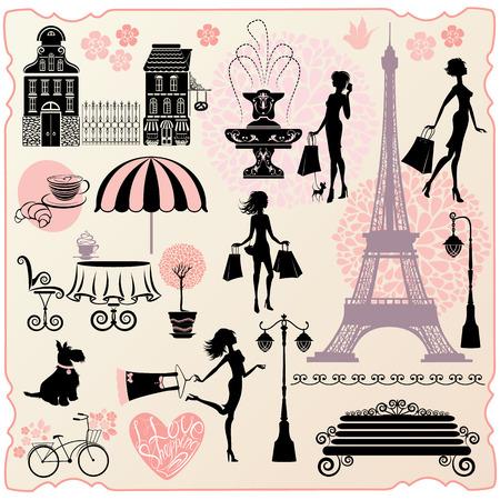 caf�: Set per moda o retail design - Torre Effel, case, cuore con testo calligrafico I love shopping, ragazze sagome con borse della spesa Vettoriali