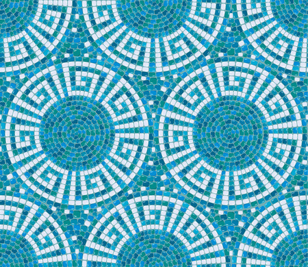 meander: Seamless mosaic pattern -  Blue ceramic tile - classic geometric ornament