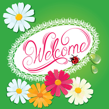 catchword: Calligraphic handwritten sign Welcome  in oval lace frame with daisies and lady bird on green background - summer holidays design Illustration