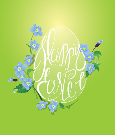 forget me not: Holiday greeting card with egg is made of calligraphic text Happy Easter and forget me not spring flowers on green background Illustration