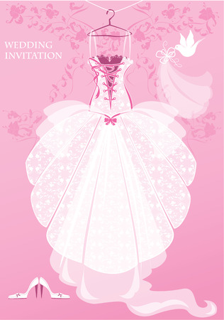 Wedding Dress, shoes and bridal veil on pink background. Wedding invitation card.  Vector