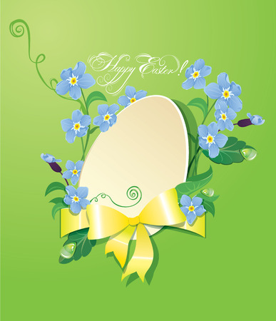 forget: Easter greeting card with paper egg, ribbon and forget me not spring flowers