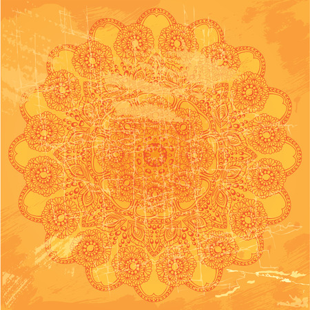 etnic: Abstract circle lace pattern on orange grunge background - image in indian etnic style