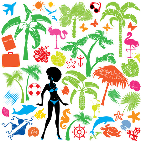 Set of summer, travel and vacations symbols - silhouettes of woman in bikini, tropical palms trees, butterflies, marine life, etc. Vector