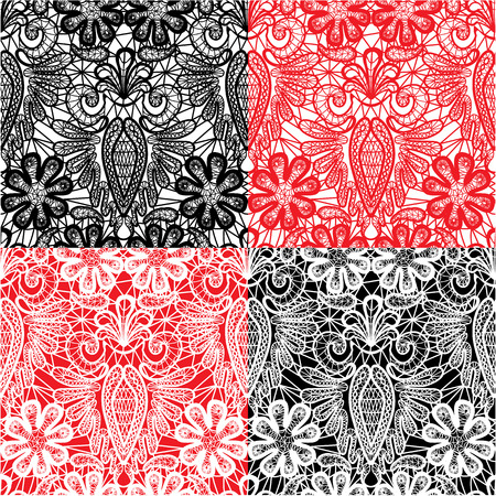 Set of Lace seamless patterns with flowers - fabric design Vector