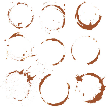 faience: Set of  Coffee Stain, Isolated On White Background. Each one is shot separately.
