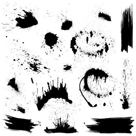 Set of black blots and ink splashes. Abstract elements for design in grunge style.  Vector