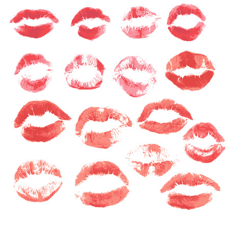 Set of beautiful red lips print on isolated white background Vector