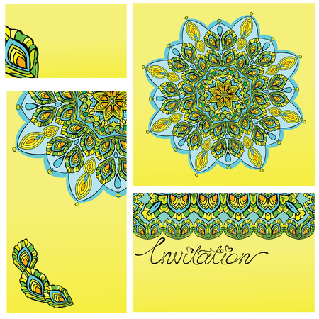 Set of  invitation cards with ornaments - kaleidoscope floral patterns. Vector
