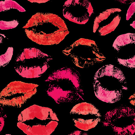 Seamless pattern with beautiful red lips prints on black background