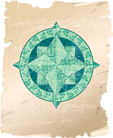 Antique ornamental wind rose on parchment background Vector