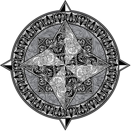 compass rose: Antique ornamental wind rose isolated on white background. Black and white image Illustration