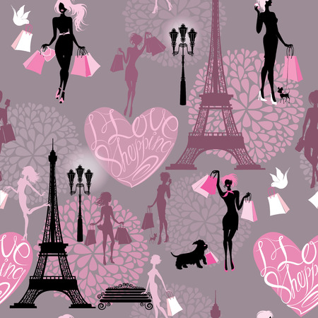siluette: Seamless pattern - Effel Tower, hearts with calligraphic text I Love Shopping, girls silhouettes with shopping bags - Background for fashion or retail design Illustration