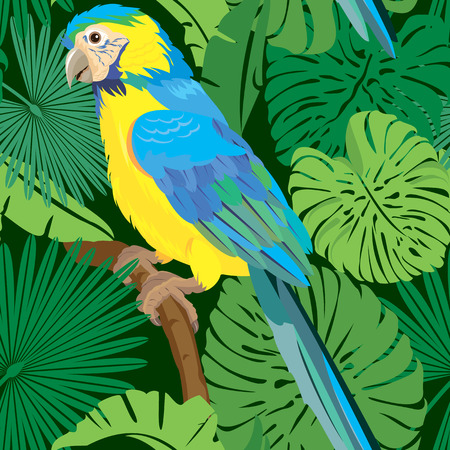 flora fauna: Seamless pattern with palm trees leaves and Blue Yellow  Macaw parrot. Ready to use as swatch. Illustration