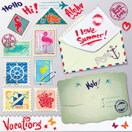 hola: Set of vintage post stamps, postcard and envelope for Vacations or travel design.