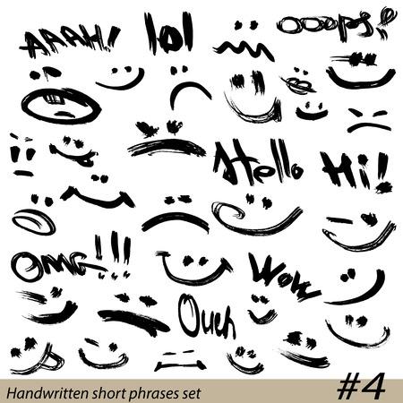 phrases: Conjunto de frases cortas escritas a mano y caras sonrientes en el estilo grunge.