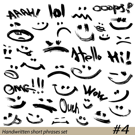 Set of Hand written short phrases and smiley faces in grunge style. Vector