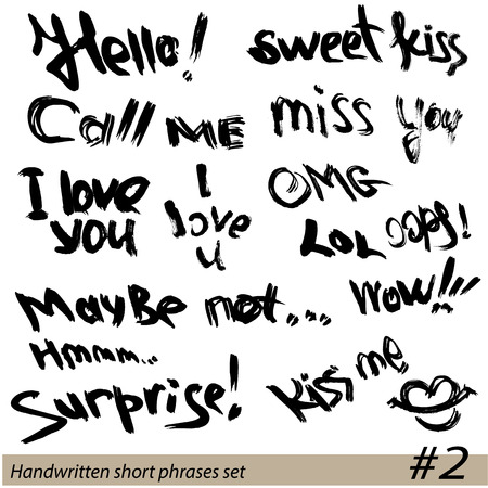 cartoon words: Set of Hand written short phrases HELLO, KISS ME, I LOVE YOU, SURPRISE, etc. in grunge style. Illustration