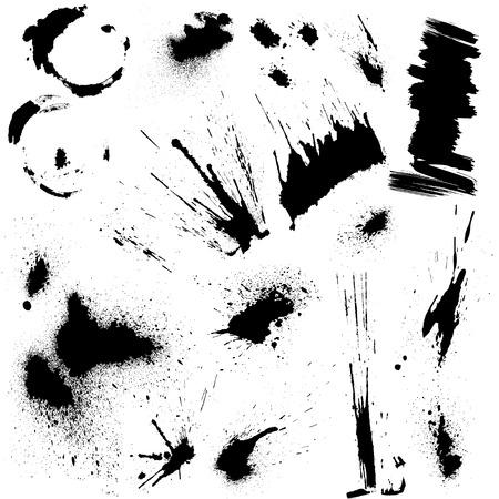 Set van zwarte vlekken en inkt spatten. Abstracte elementen voor ontwerp in grunge stijl.