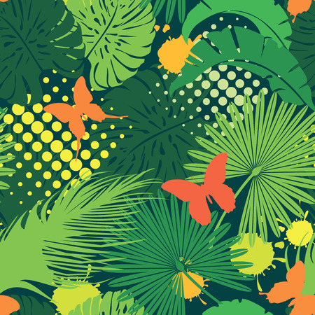 Seamless pattern with palm trees leaves and butterflies. Ready to use as swatch.