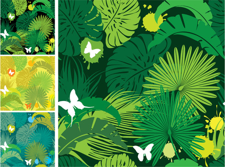 Set of seamless patterns with palm trees leaves and butterflies. Ready to use as swatch. Vector